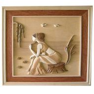 Lady Dreamer 3D Handcarved Wooden Picture