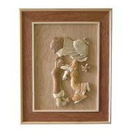 Child Kiss 3D Handcarved Wooden Pictures