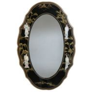 Lacquer Mirror with Mother of Pearl Carvings