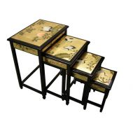 Gold Leaf Set of 4 Nest of Tables, Cranes