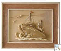 Sailing Ship 3D Handcarved Wooden Picture