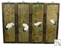 Set of 4 Gold Leaf Wall Hangings with Cranes
