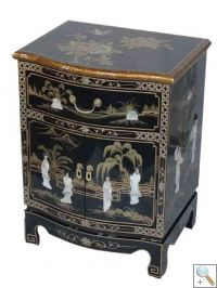Black Lacquer Mother of Pearl End / Lamp Table