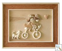 Kids on Bike 3D Handcarved Wooden Picture