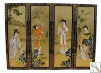 Set of 4 Gold Leaf Wall Hangings with Painted Ladies