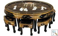 Mother of Pearl Lacquer Oval Coffee Table with 6 Stools & Glass