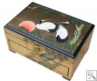 Gold Leaf Jewellery Box with Chinese Lock, Cranes