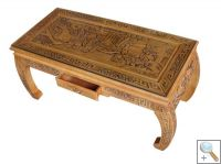 Hand Carved Scroll End Coffee Table w/Glass