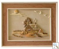 Cottage 3D Handcarved Wooden Picture
