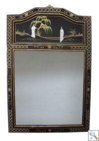 Black Lacquer Mirror with Mother of Pearl Carvings