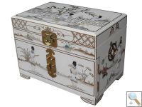 MOP White Lacquer Jewellery Box with Chinese Lock