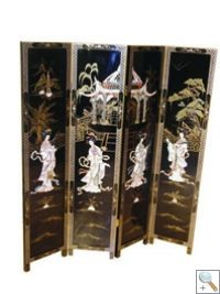 Chinese Lacquer 4 Panel Screen, Mother of Pearl